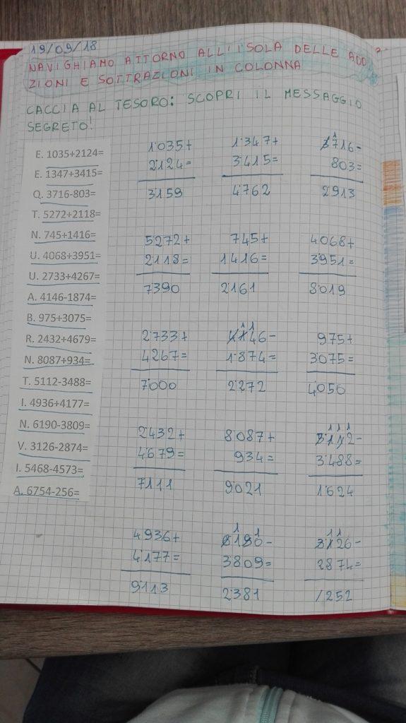 calcoli scritti: addizioni e sottrazioni